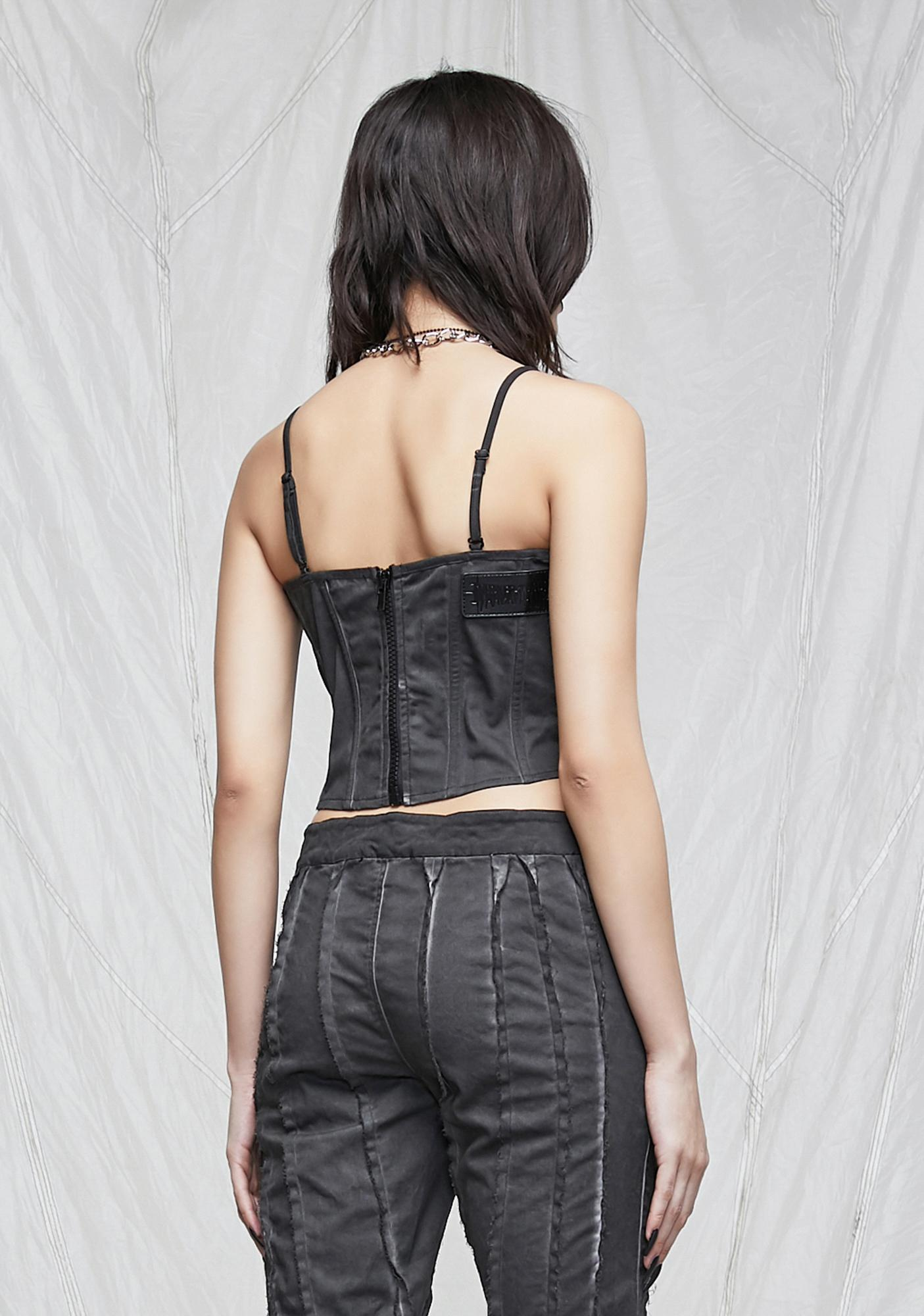 DARKER WAVS Synth Washed Bustier With Raw Edge Detail
