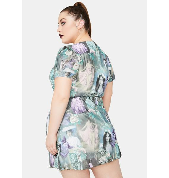 Widow Divine Ink And Feather Portrait Print Wrap Dress
