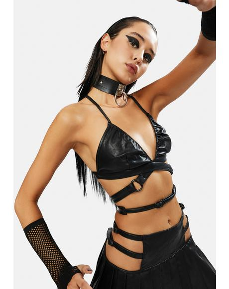 Night Craze Vegan Leather Bra Top