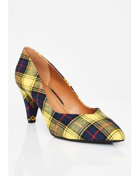 Sunny Power Tripping Plaid Heels