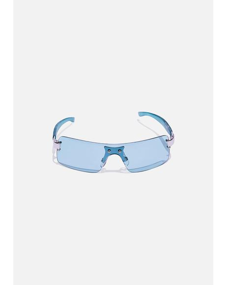Aqua Green Shield Sunglasses