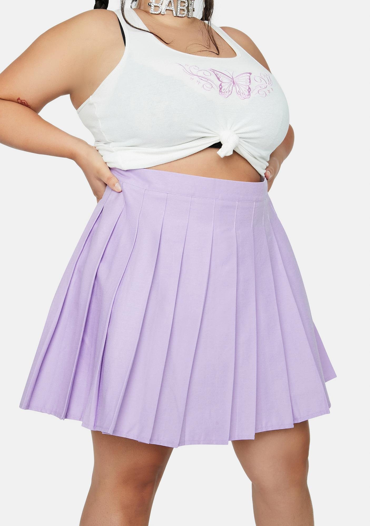 Lilac She's Just Like Candy Pleated Skirt