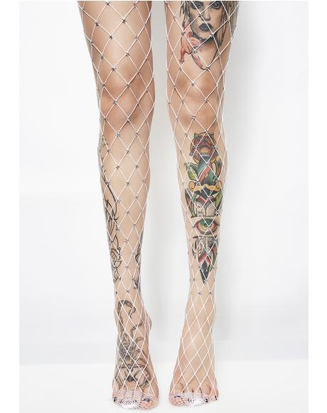 Star Foxx Embellished Fishnets