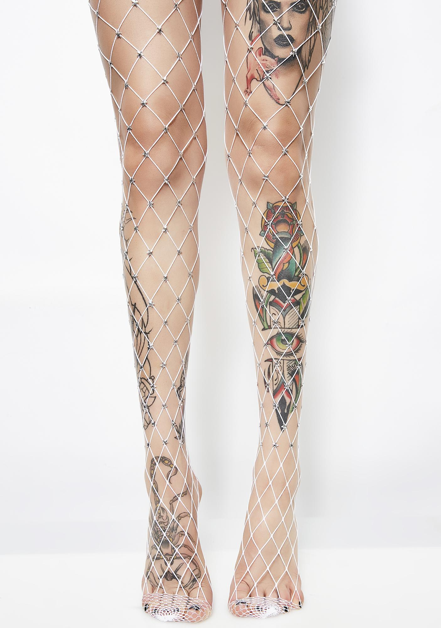 1a113250cd9 White Star Embellished Fishnet Tights
