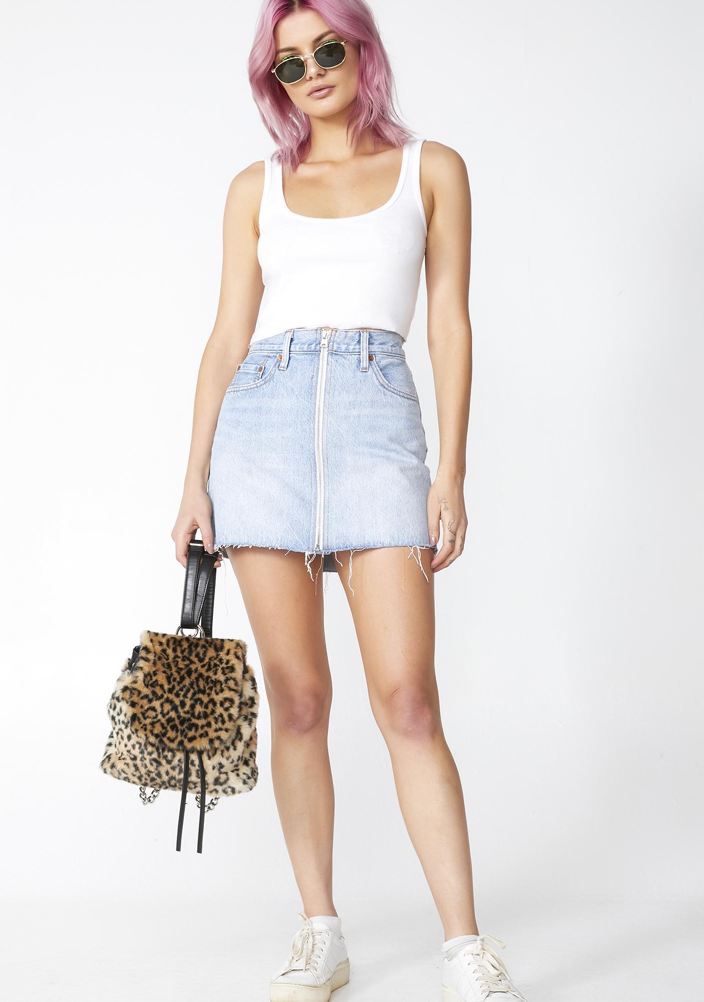 Levis Deconstructed Zip Denim Skirt