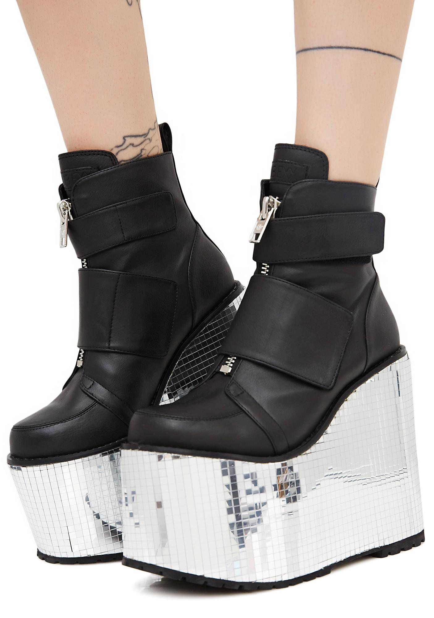 0c8a27a289 Club Exx Diabolical Disco Platform Wedges