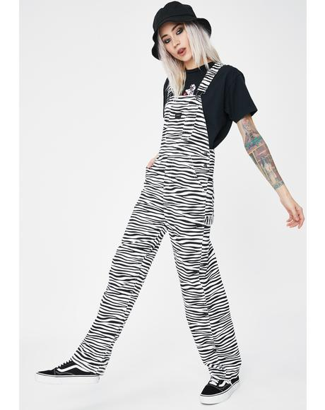 White Slacker Denim Overalls