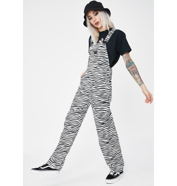 Obey White Slacker Denim Overalls