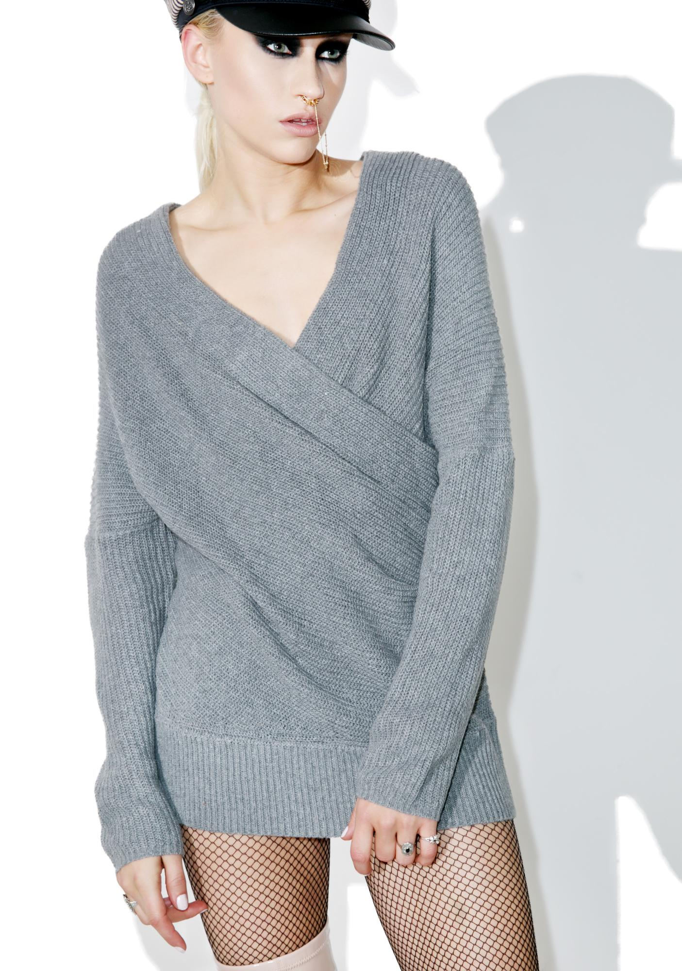 Grey Knit Wrapover Sweater | Dolls Kill