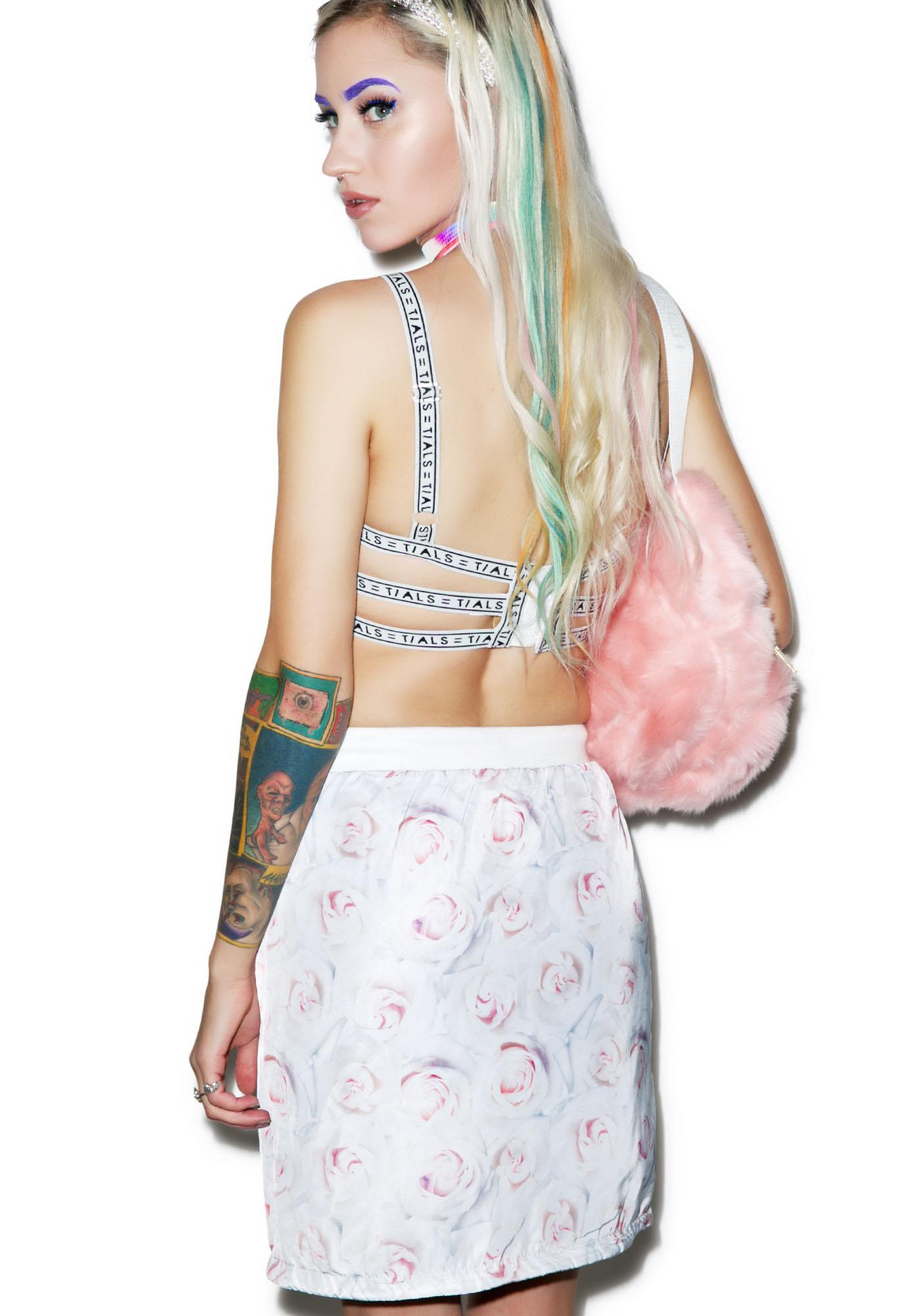 Joyrich White Rose Reverse Tube Skirt