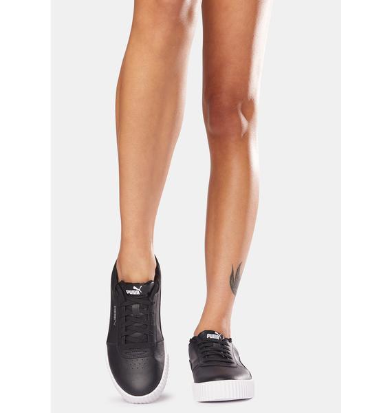 PUMA Black Carina Leather Women's Sneakers