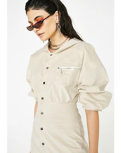Corduroy Snap Jacket Dress