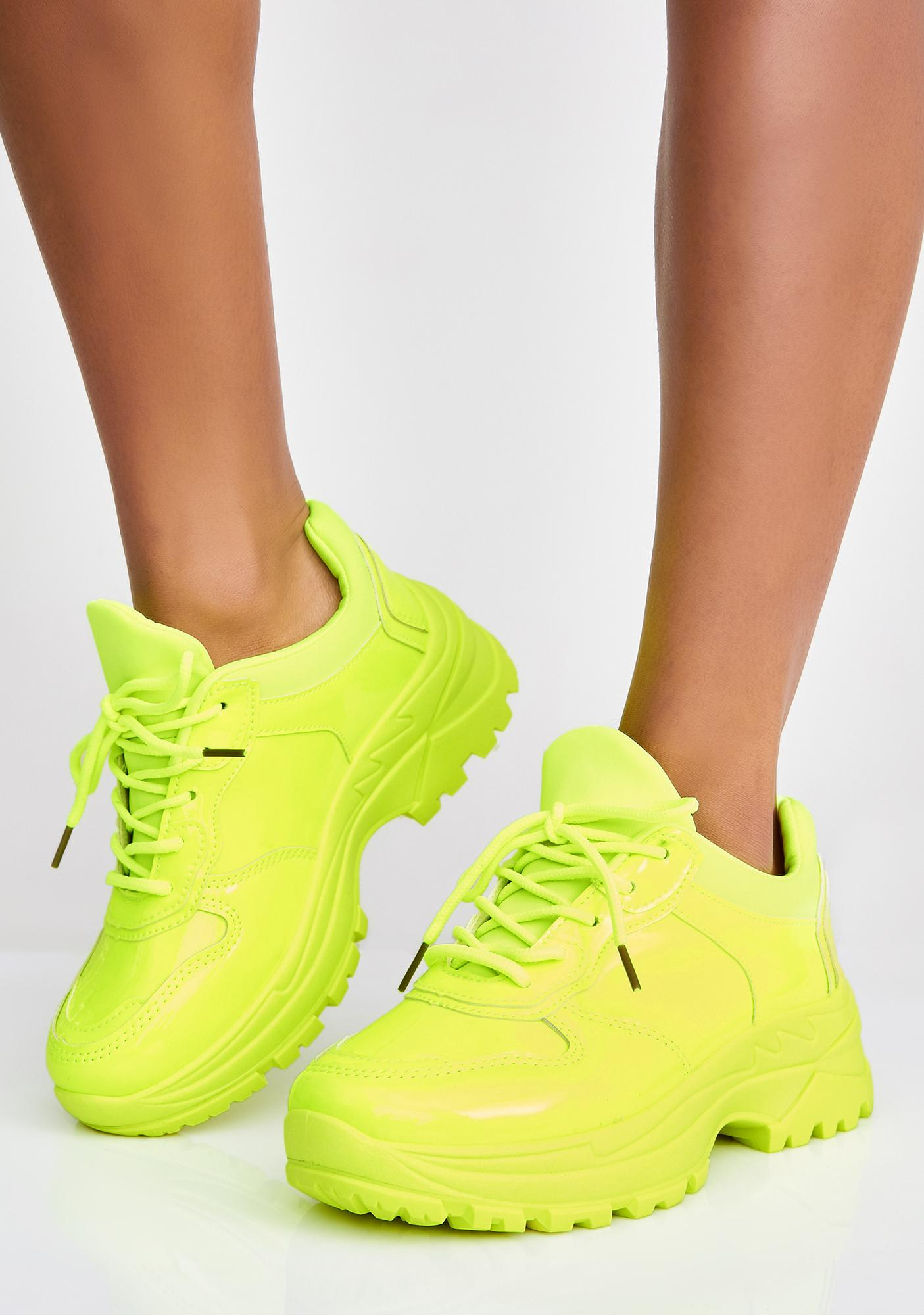 Neon Platform Sneakers Yellow   Dolls Kill