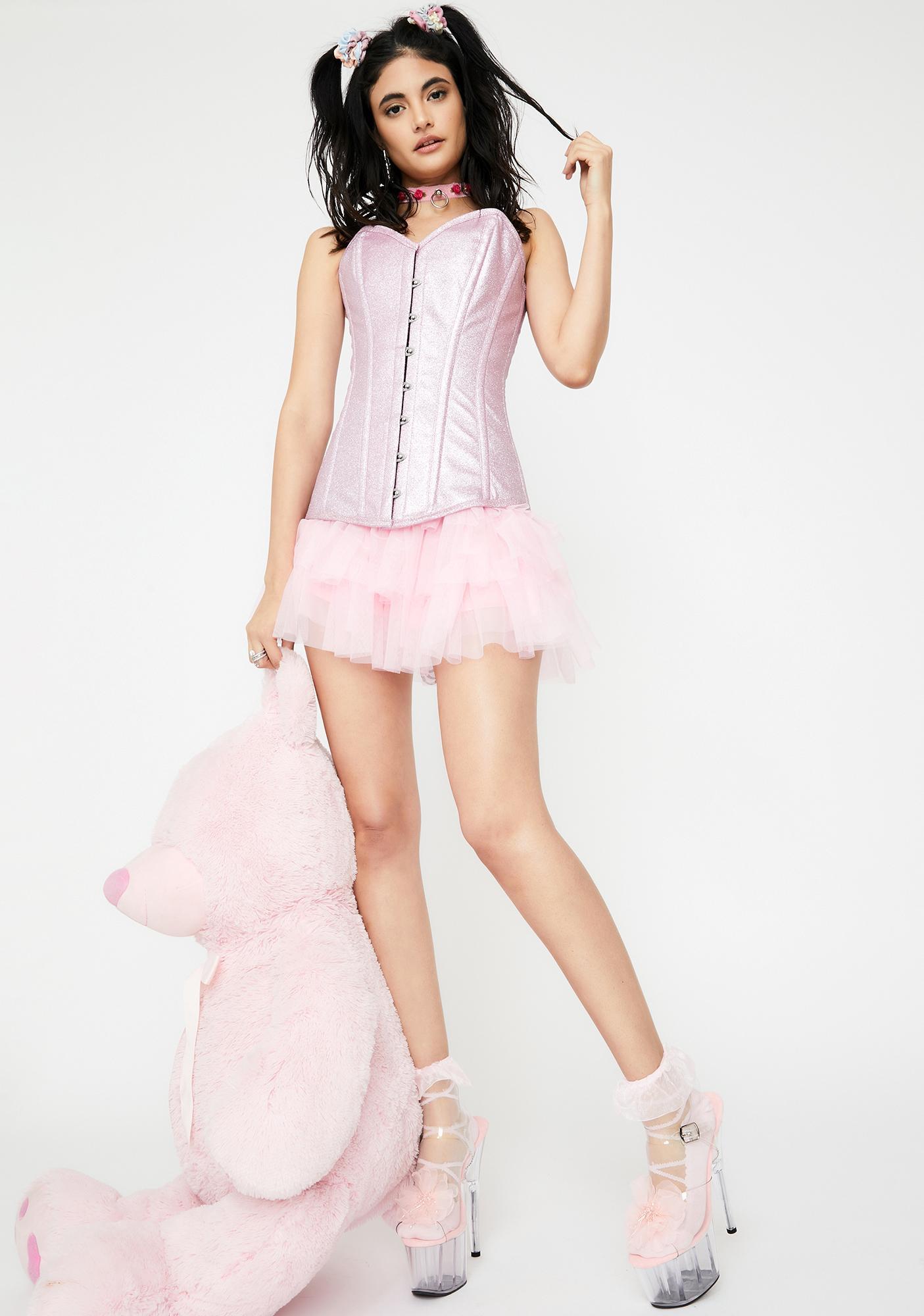 Daisy Corsets Posh Pink Glitter Overbust Corset