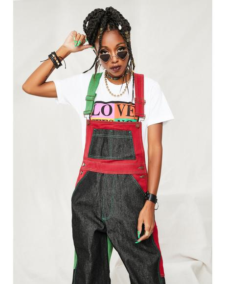 Color Block Denim Overall