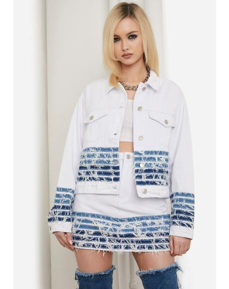 Bullseye Babe Distressed Denim Jacket