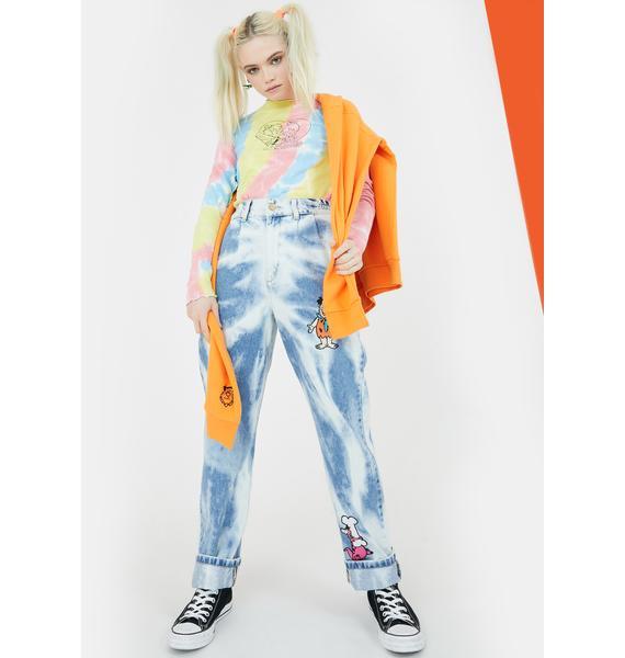 Lazy Oaf X Flintstones Bedrock Tie Dye Top