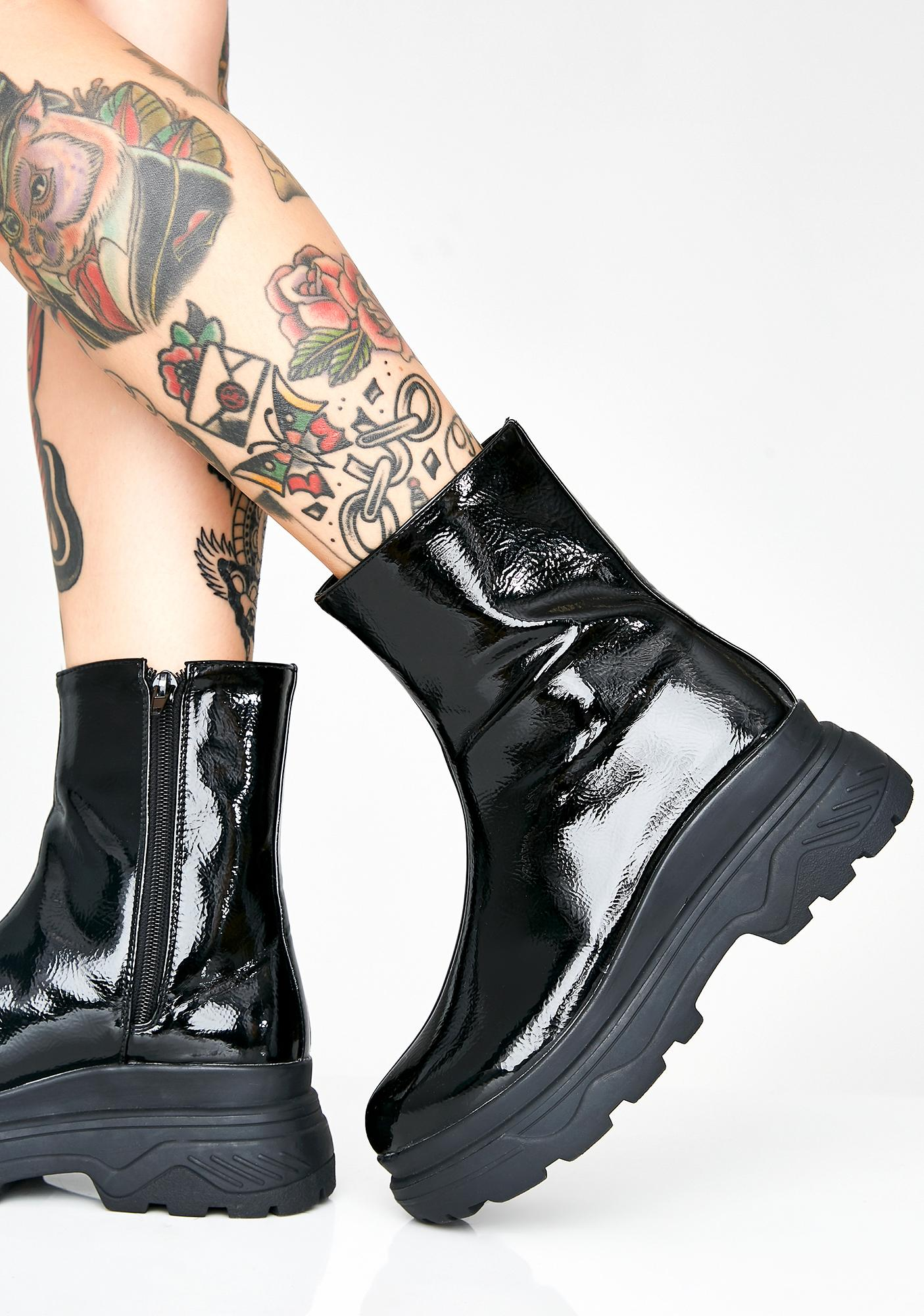 AZALEA WANG Hulk Patent Boots