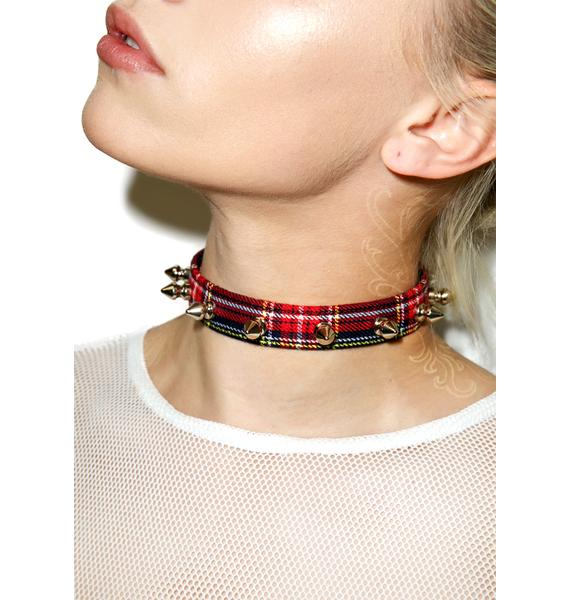Plaid Dreams Spiked Choker