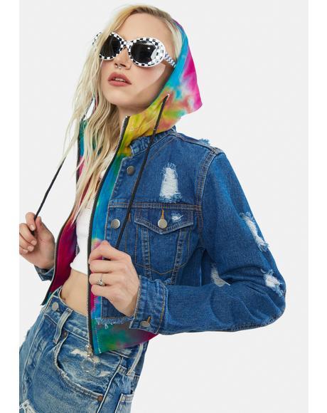Outta Her League Tie Dye Jean Jacket
