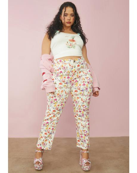 Always On A Whim Mushroom Print Jeans