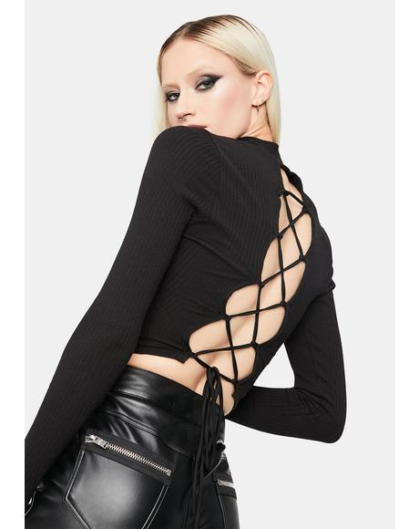Slick Buy Me Diamonds Lace Up Crop Top