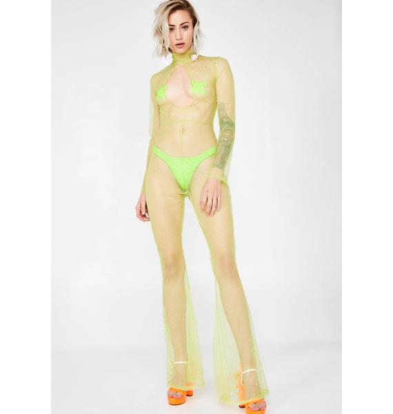 Jaded London Diamante Neon Green Mesh Keyhole Flared Leg Catsuit