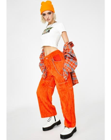 Orange Jumbo Corduroy Pants V.2