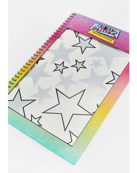 Holographic Silver Star Temporary Tattoos