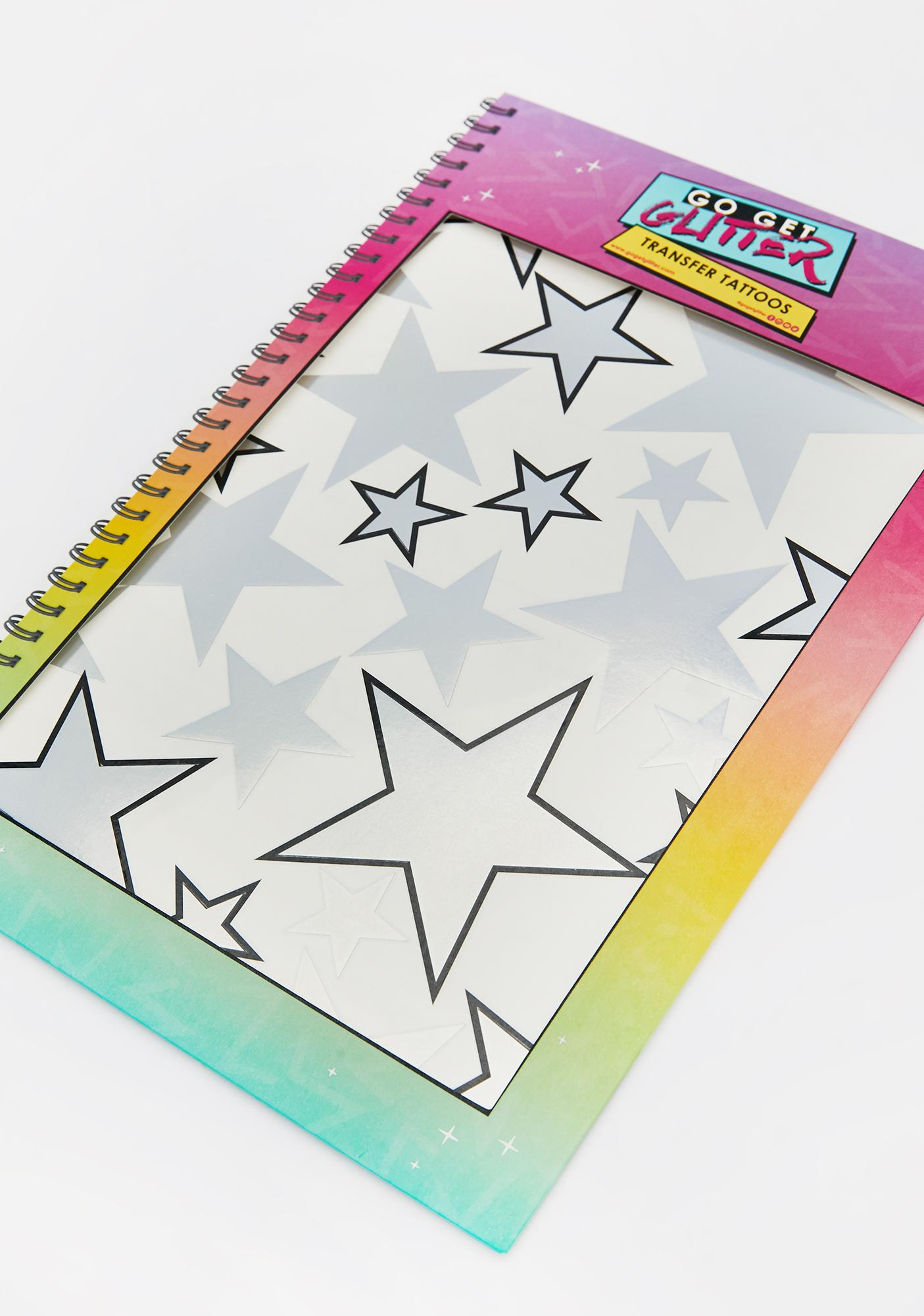 Go Get Glitter Holographic Silver Star Temporary Tattoos