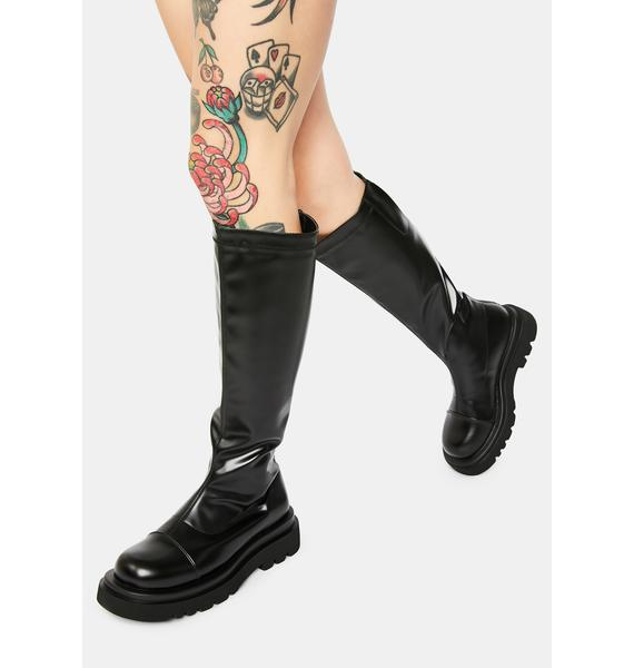 Lower Ground Knee High Combat Boots