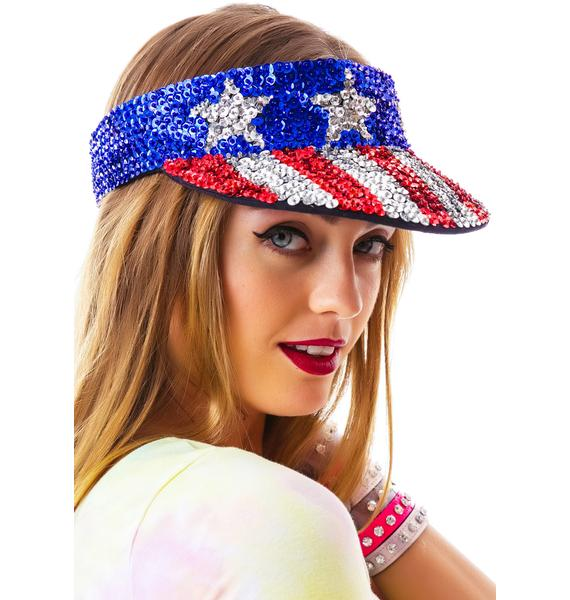 American Flag X Sequin Visor