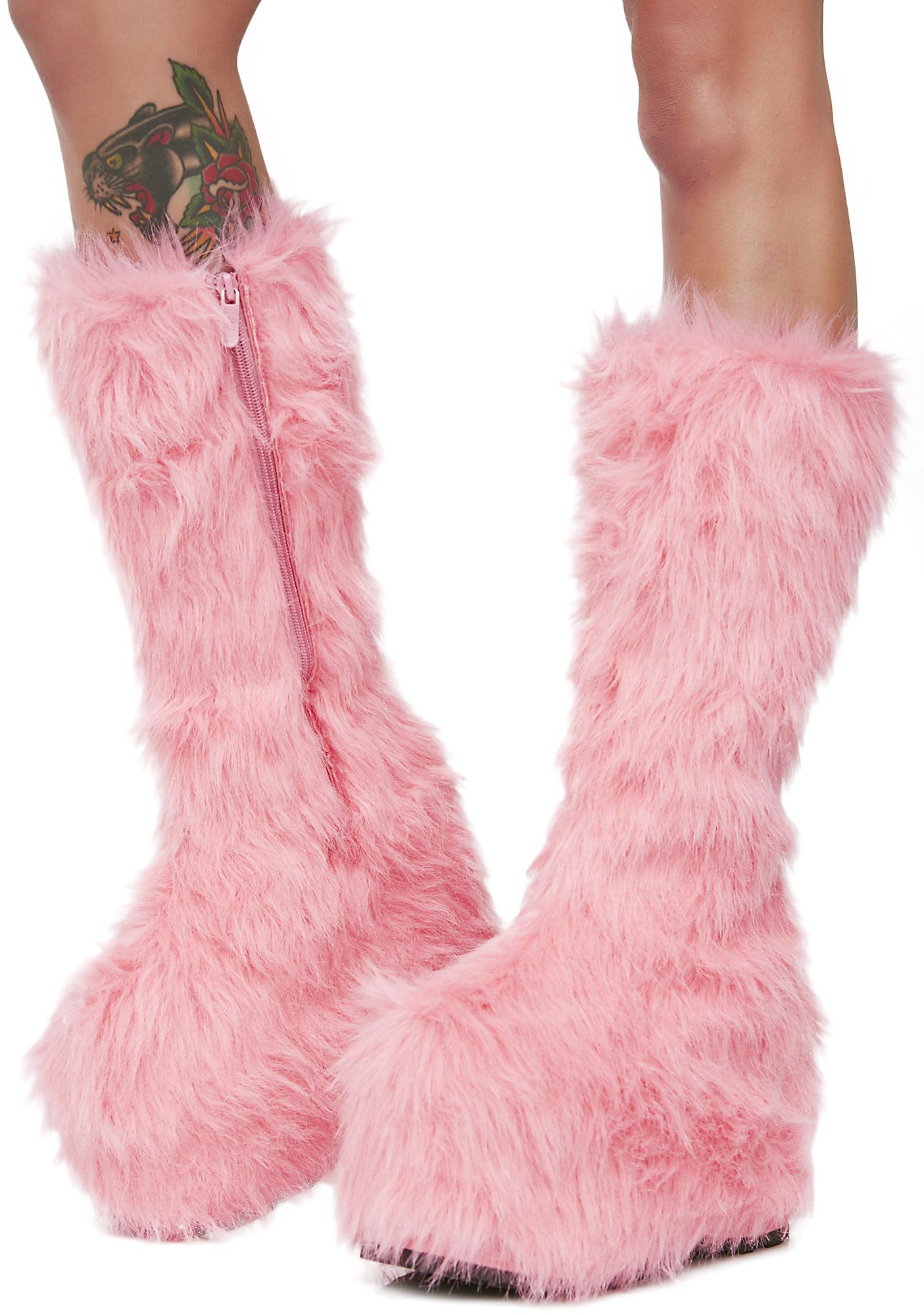 Candy Party Monster Fuzzy Platform Boots