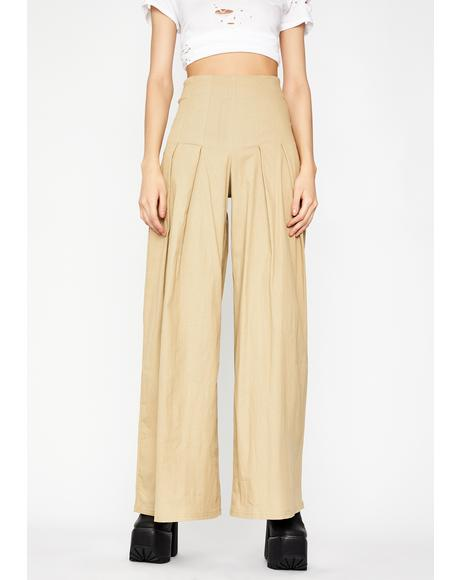 Taupe Wanderlust Heart Wide Leg Pants
