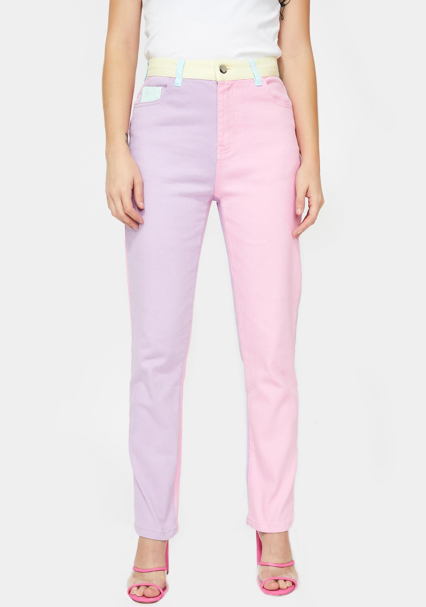 Pretty In Pastel Denim Jeans by Sugar Thrillz