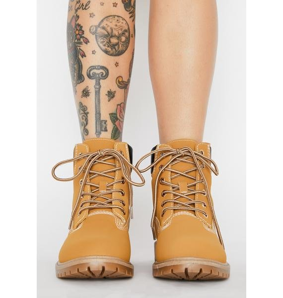 Natural Street Smartz Lace Up Booties