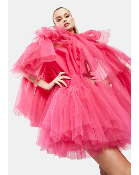 Fuschia Tiered Tulle Top Cape