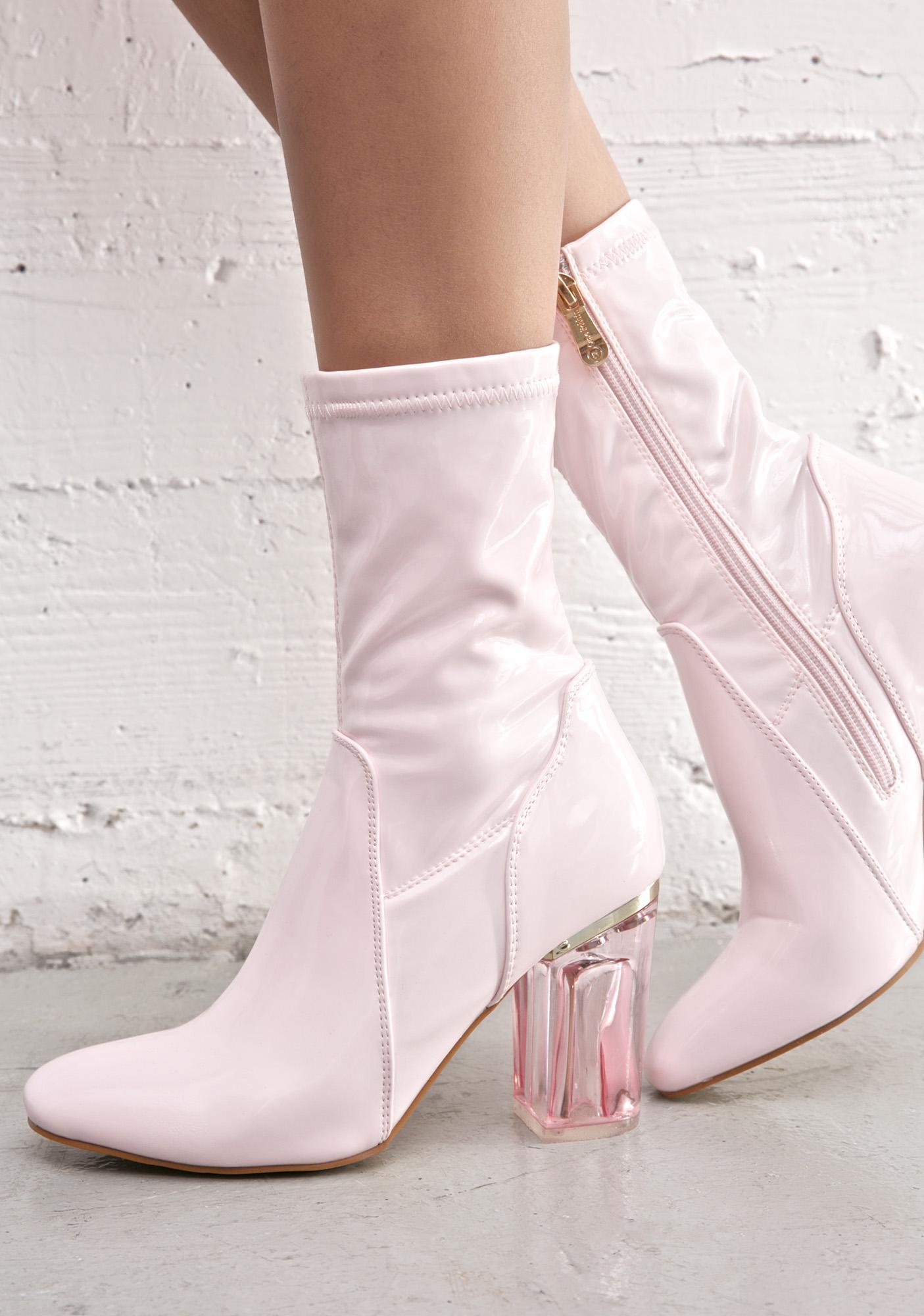 Pink Clear Heel Boot | Dolls Kill