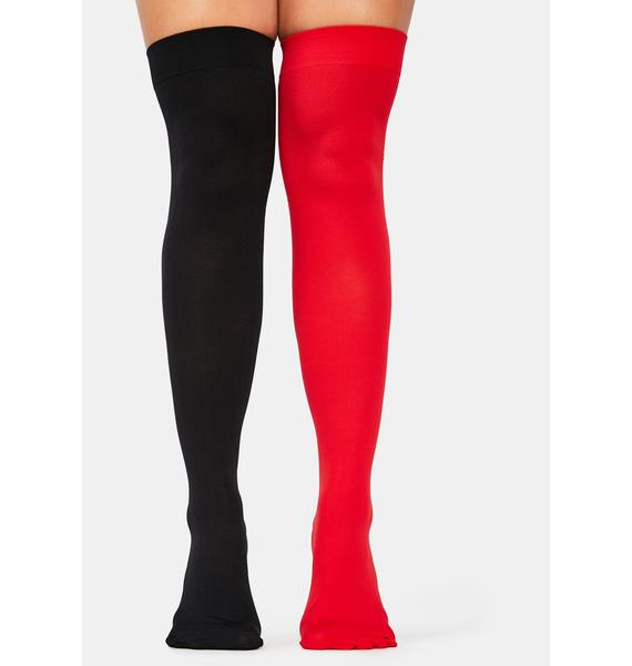 Scarlet Opposites Attract Mismatched Thigh High Socks