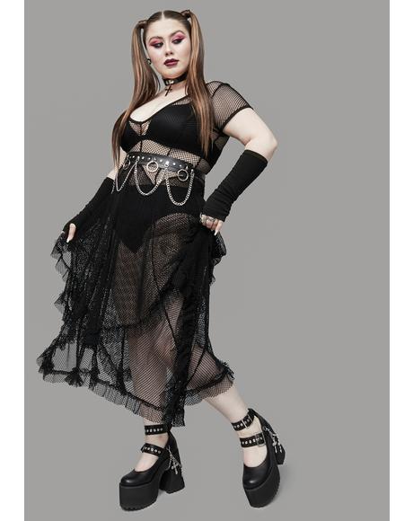 My Toxic Valentine Fishnet Midi Dress