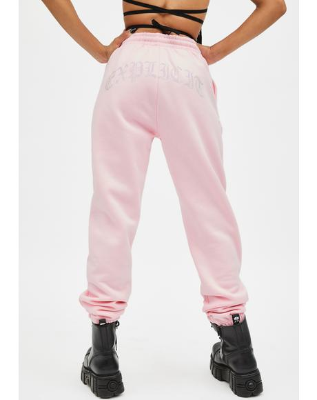 Pink Explicit Rhinestone Sweatpants