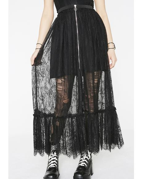 Gothic Zipper Lace Half Skirt