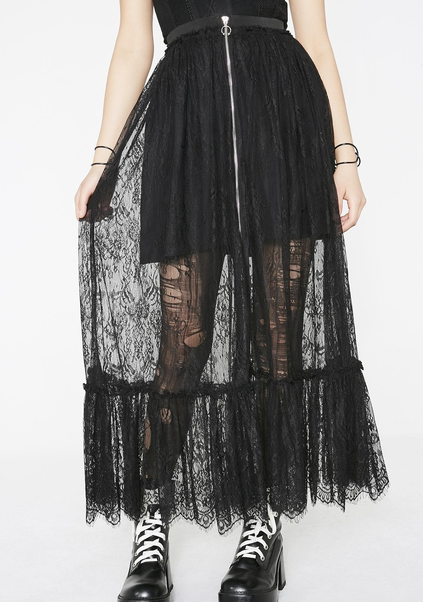60773d5c913 Punk Rave Gothic Zipper Lace Half Skirt