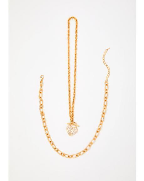 Precious Frozen Heart Necklace Set