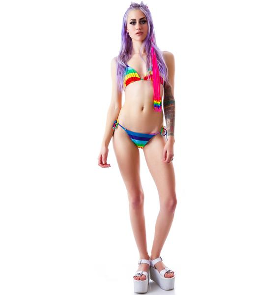 Wildfox Couture 70's Rainbow Reversible String Bottom