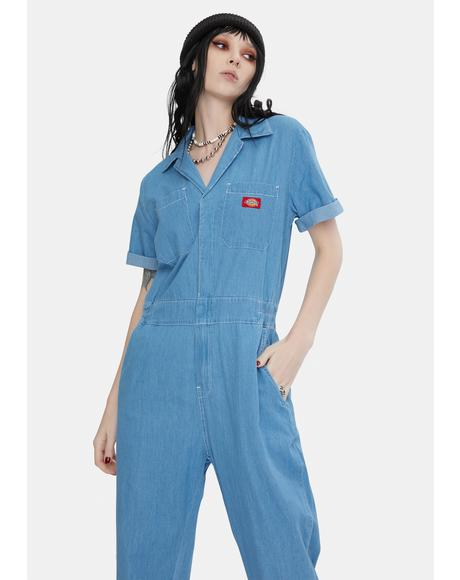 Short Sleeve Denim Worker Coveralls