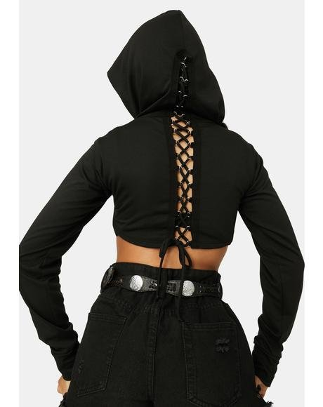 Can't Handle This Lace-Up Shrug Hoodie