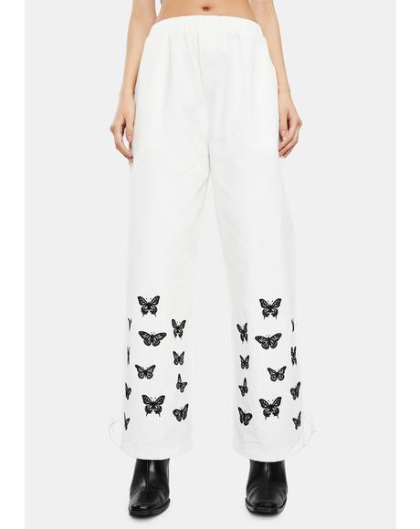 White Owens Butterfly Pants