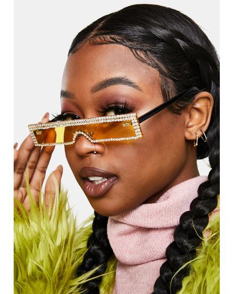 Electric Into The Future Slim Rhinestone Sunglasses
