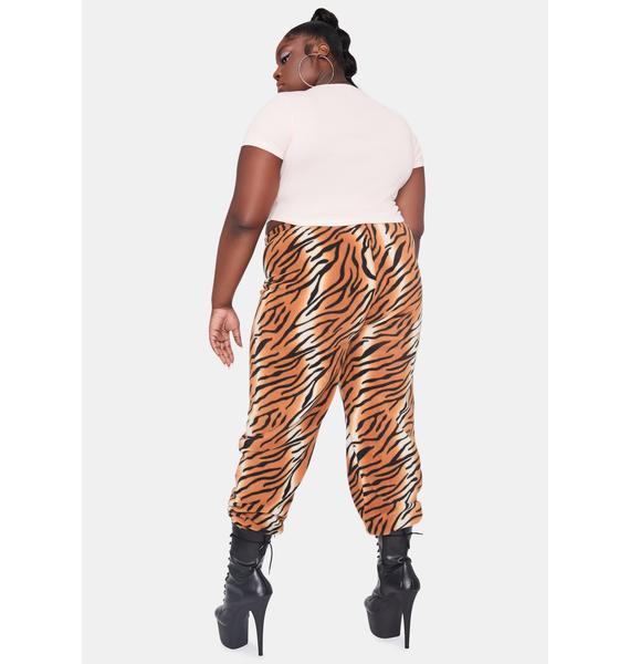 NEW GIRL ORDER Curve Tiger Fleece Jogger Sweatpants